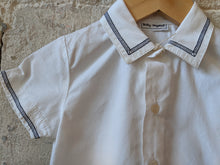 Load image into Gallery viewer, Vintage White Cotton Shirt with Navy Stitched Trim 12 Months