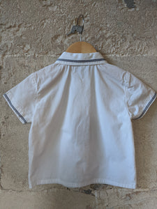 Vintage White Cotton Shirt with Navy Stitched Trim 12 Months