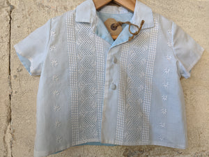 French Antique Shirt with Broderie Panelling 12 Months