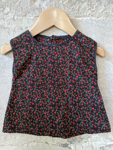 Pretty Chocolate Brown French Floral Tunic 3 Months