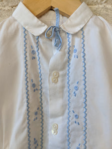 Pretty French Antique White Cotton Shirt - 3 Months