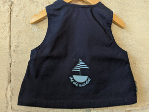 Vintage Sailor A-Line Navy Tunic with Kangaroo Pocket 3 Months