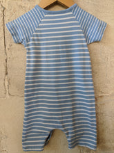 Load image into Gallery viewer, Sky Blue Breton Style Romper 12 Months