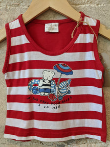 Amazing Red Striped Beach Vest Top 6 Months