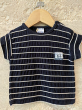 Load image into Gallery viewer, Soft Cotton Navy T Shirt with Striped White Piping 3 Months