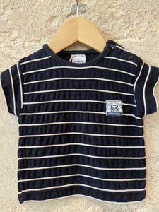 Soft Cotton Navy T Shirt with Striped White Piping 3 Months