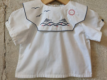 Load image into Gallery viewer, French Antique Sailing Boat White Tunic 6 Months