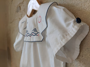 French Antique Sailing Boat White Tunic 6 Months