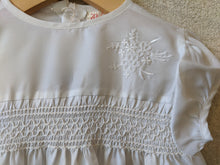Load image into Gallery viewer, Vintage Terylene Smocked White Lily Dress 6 Months