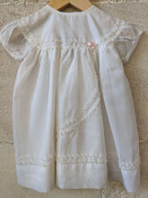 Load image into Gallery viewer, Vintage Ruffle Trim Layered Terylene White Dress 6 Months