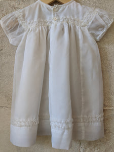 Vintage Ruffle Trim Layered Terylene White Dress 6 Months