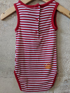 Cute Seaside Red Striped Bodysuit 6 Months