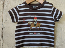 Load image into Gallery viewer, Weekend à La Mer Striped Teddy Bear T Shirt 6 Months