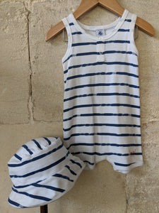 Petit Bateau Matching Striped Seaside Romper and Sun Hat 12 Months