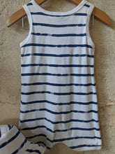 Load image into Gallery viewer, Petit Bateau Matching Striped Seaside Romper and Sun Hat 12 Months
