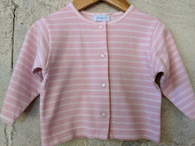 Load image into Gallery viewer, Jacadi Pink Striped Cardigan with Daisy Poppers 6 Months
