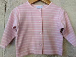 Jacadi Pink Striped Cardigan with Daisy Poppers 6 Months