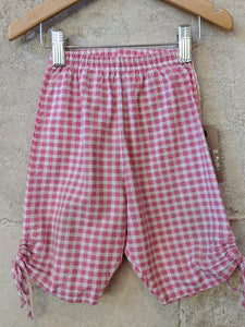 Lovely Pink Checked Cotton Trousers with Ties 12 Months