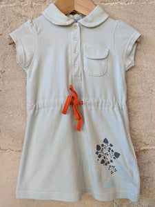Fabulous Turquoise Polka Dot French T Shirt Dress 12 Months