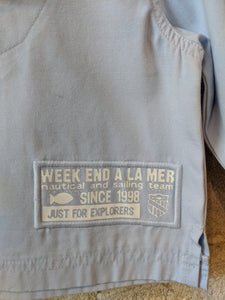 Weekend à La Mer French Fisherman's Sky Blue Smock 12 Months