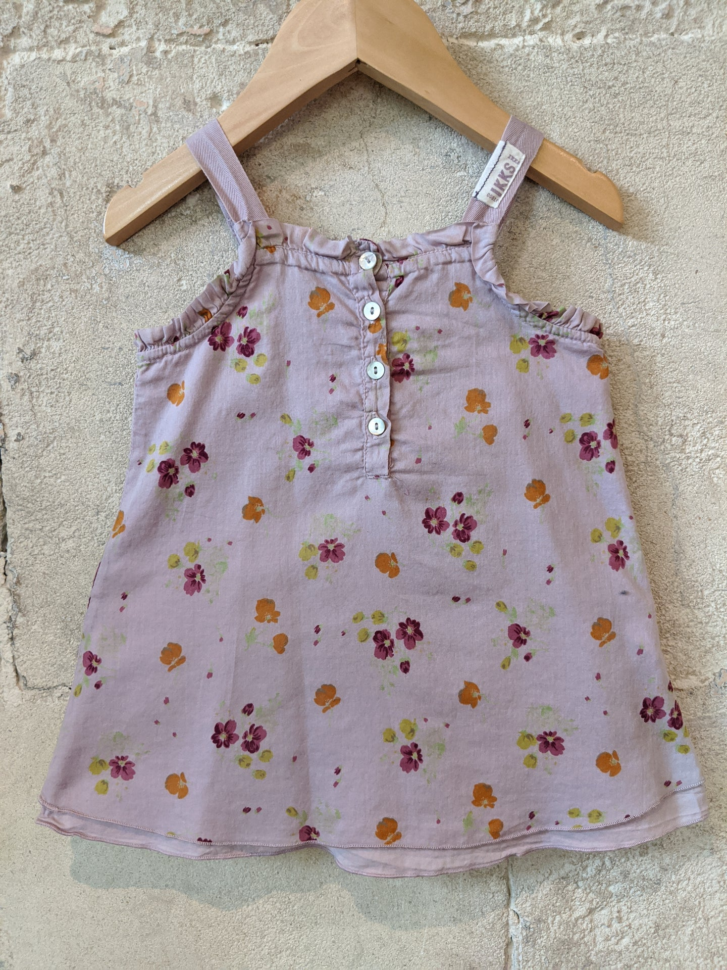 IKKS Dusky Lilac Layered Summer Top with Ribbon Straps 12 Months