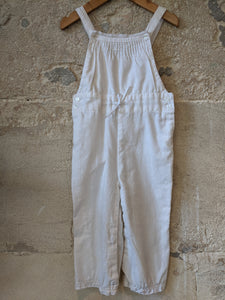 Lovely White Linen Pleated Dungarees with Lace Trim 18 Months