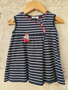 Navy Soft Cotton French Striped Tunic 18 Months
