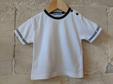 Load image into Gallery viewer, Classic White T with Navy Buttons 12 Months