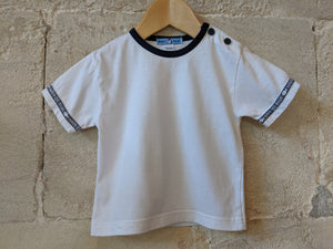 Classic White T with Navy Buttons 12 Months