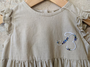 Embroidered B for Beautiful Natural Linen Dress 12 Months