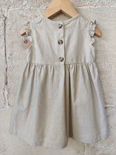 Load image into Gallery viewer, Embroidered B for Beautiful Natural Linen Dress 12 Months