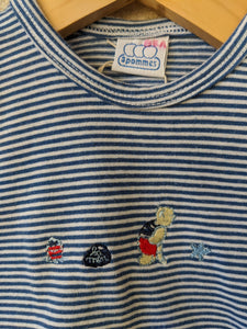 A Cheery Blue Stripe Teddy Bear T Shirt by 3 Pommes 18 Months