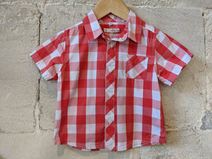 Brilliant Red Checked Cotton Shirt 18 Months