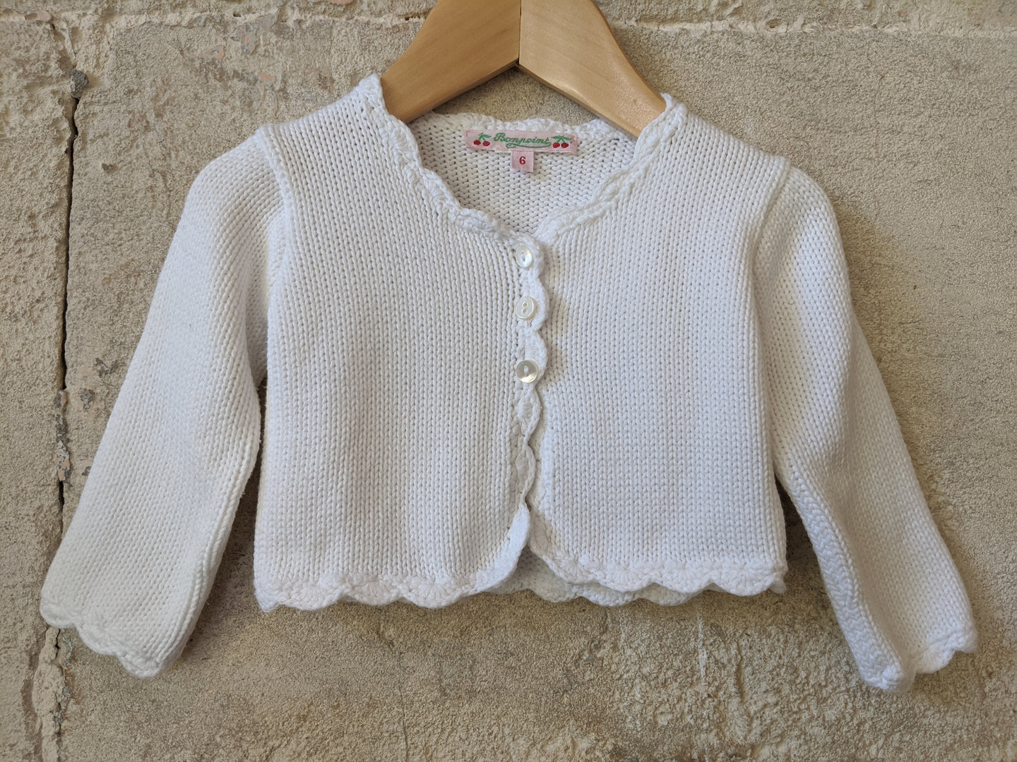 Bonpoint White Cotton Knit Cardigan 6 Months