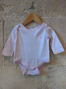 Baby Pink Striped Bodysuit 6 Months