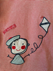 Cutest French Stripe Flying a Kite T Shirt 2 Years