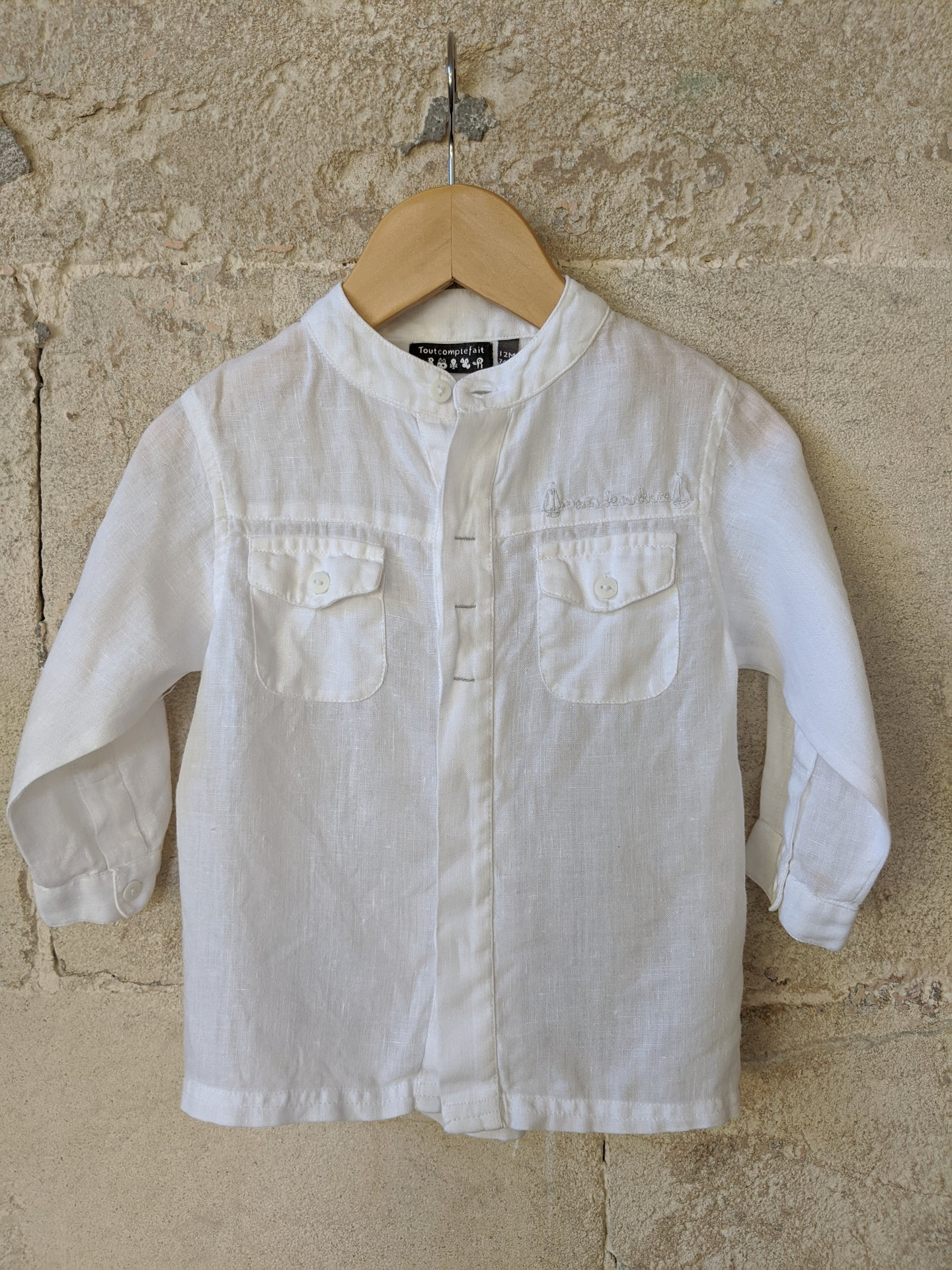 Gorgeous White Linen Grandad Collar Shirt 12 Months