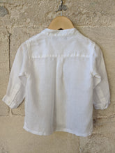 Load image into Gallery viewer, Gorgeous White Linen Grandad Collar Shirt 12 Months