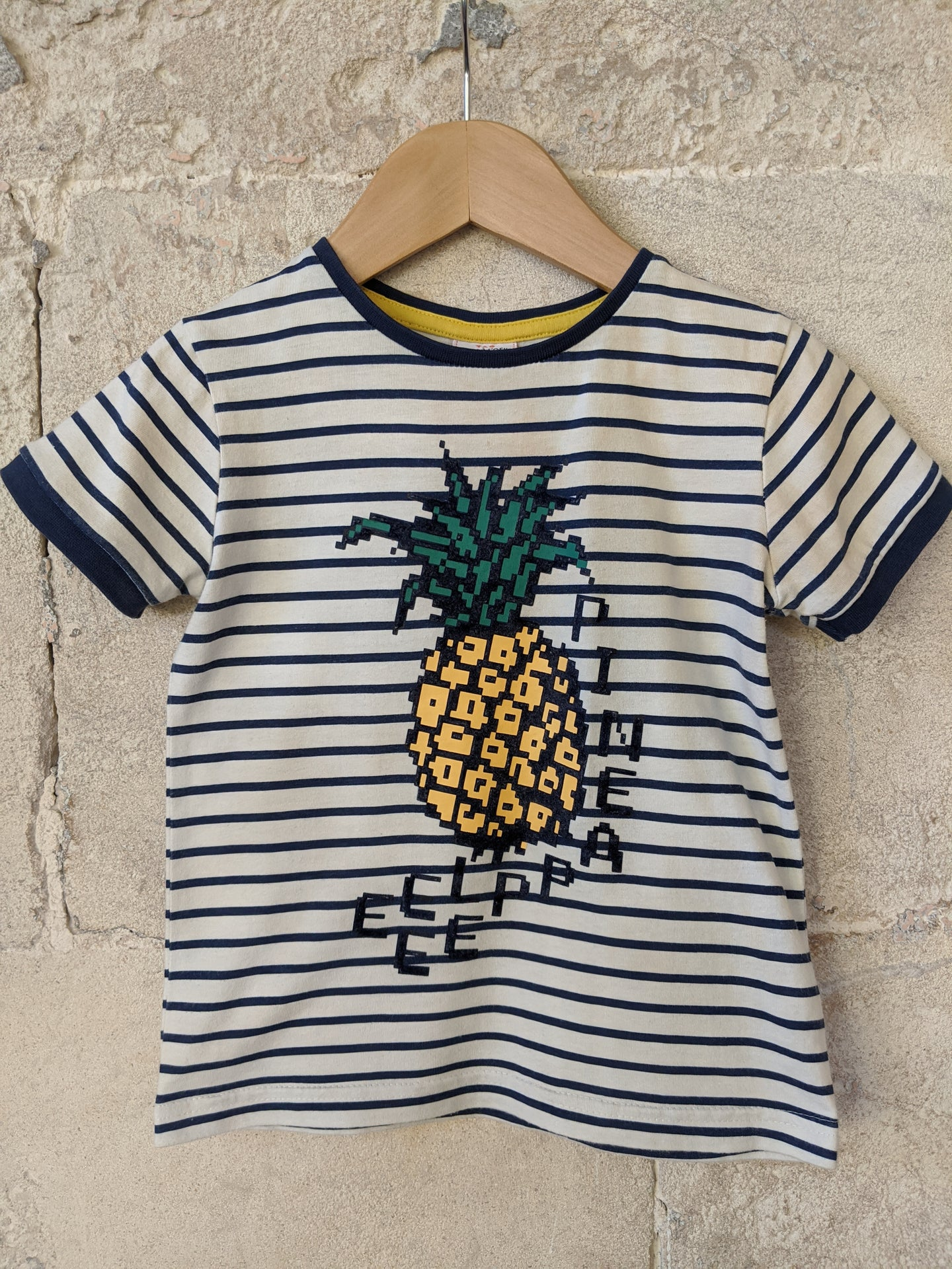 Cool Textured Pineapple Striped T Shirt 3 Years
