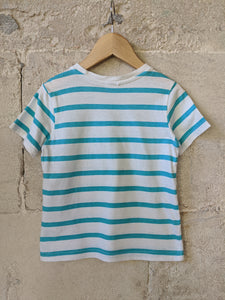 Brilliant Blue Striped T Shirt 4 Years