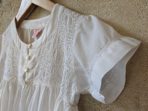 Vintage Girl's Preloved Shirt French White Blouse Wedding 5-6 Years