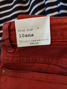 Monoprix Slim Fit Rust Denim Jeans NEW - 10 Years