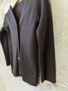 Stunning Vintage Chocolate Brown Rib Knit Cardigan - 12 Months