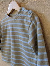 Load image into Gallery viewer, Petit Bateau Taupe & Powder Blue Stripes - 18 Months