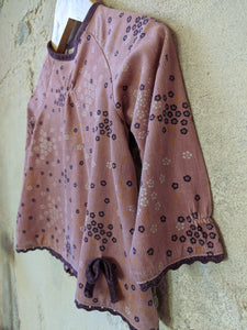 Soft Pink & Lavender Corduroy Tunic with Pretty Flower Print - 18 Months