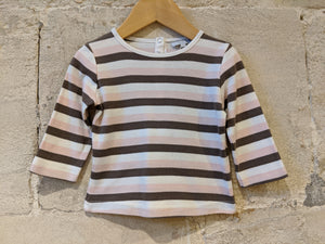 Wide Striped Dusky Pink & Brown French Top - 12 Months