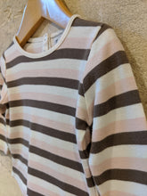 Load image into Gallery viewer, Wide Striped Dusky Pink & Brown French Top - 12 Months