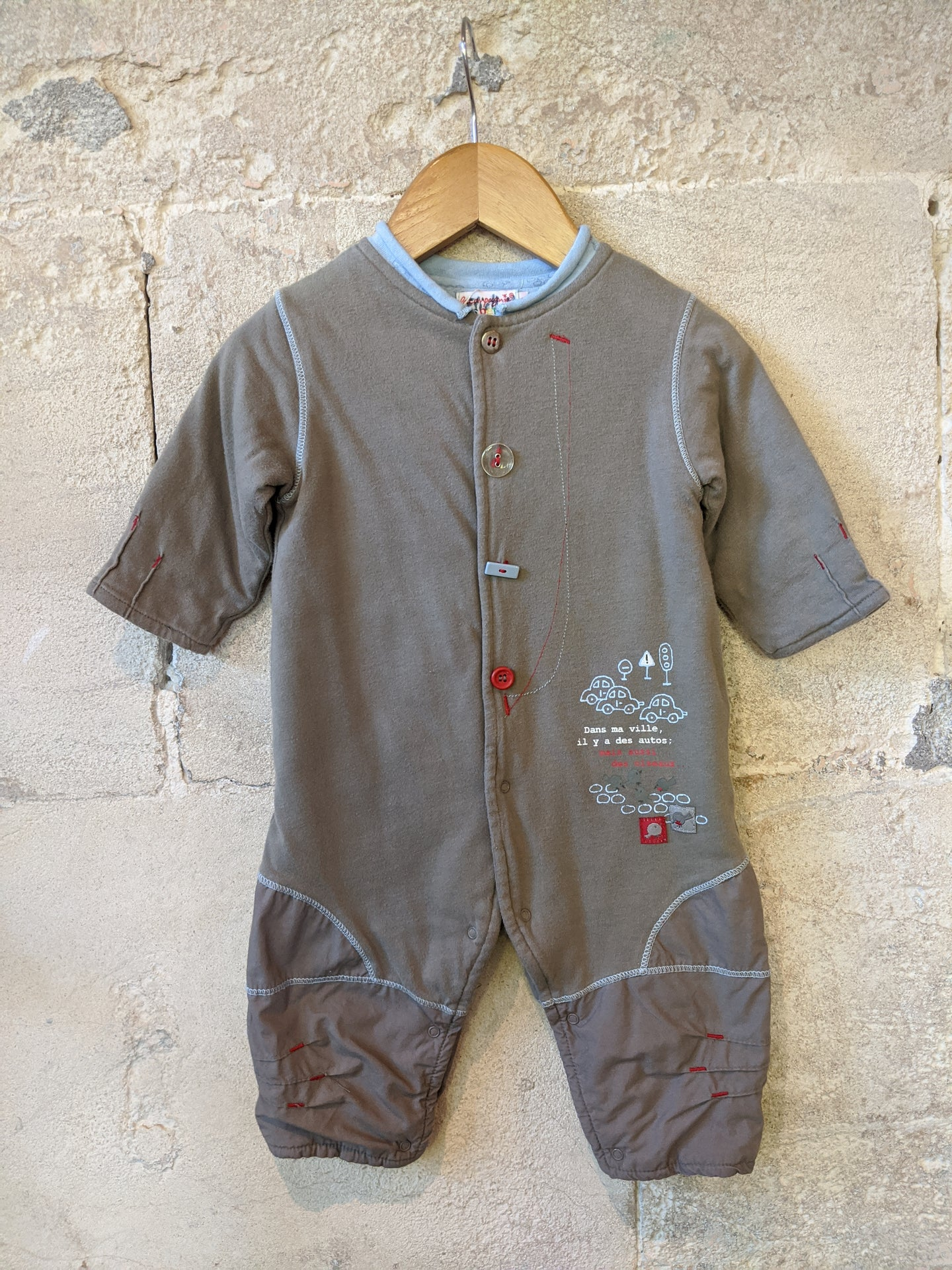 Cosy French Car Sleepsuit - 6 Months