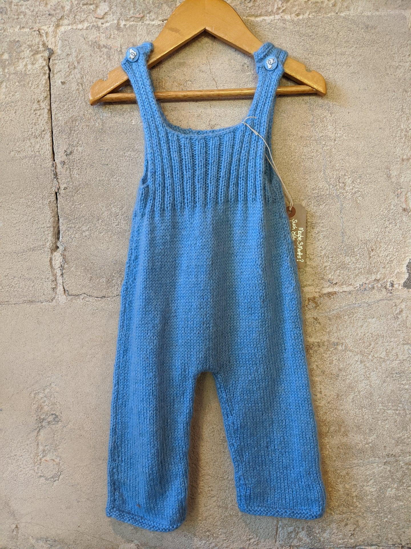 The Cutest Sky Blue Hand Knitted Dungarees - 3 Months