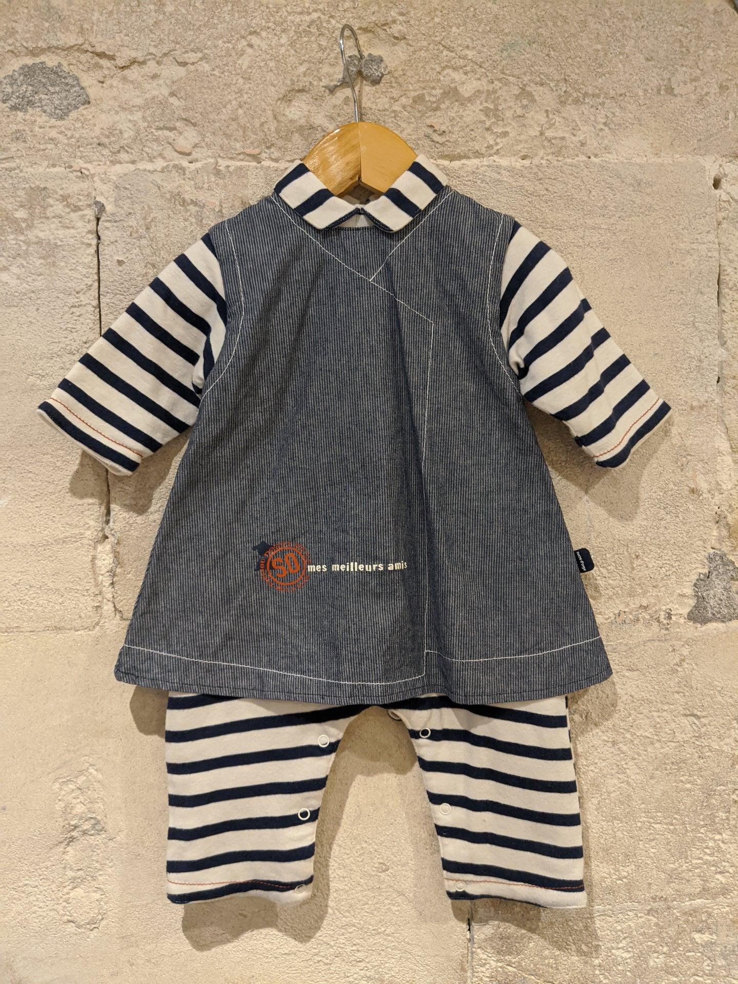 Fabulous Snuggly Breton Striped Romper-Dress in One - 6 Months
